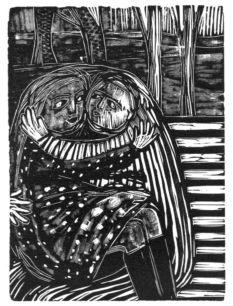 Engravings – Woodcut of head and wire